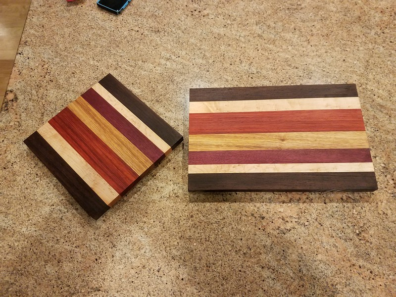 "Finished 3/4"" cutting boards:<br /> Wenge<br /> Curly Maple<br /> Purple Heart<br /> Canary wood<br /> Padouk<br /> curly Maple<br /> Wenge"