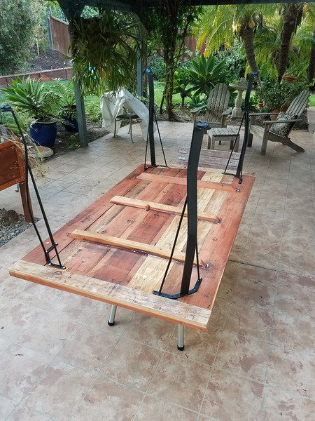 Redwood patio table - used spines on the bottom  to flatten.
