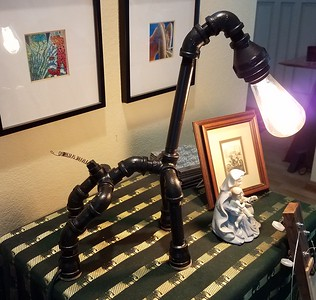 """Rex""  - will light up your life. Made from Galvanized pipe and an Edison bulb for a nice soft glow."