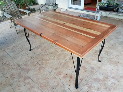 Redwood patio table completed on July 8, 2019