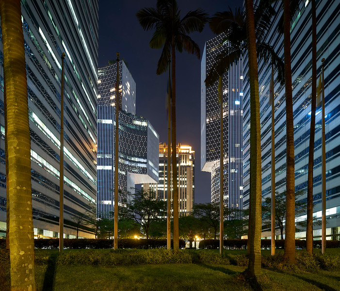 Singapore by night. Fusion architecture and nature. Duo. Mix used high rise. Singapore. Buro Ole Scheeren.