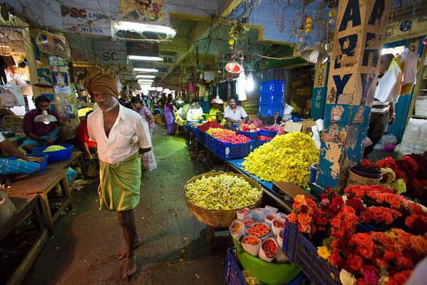 Koyambedu Wholsesale Market, north of Chennai. It is mainly a fruit, veg and flower wholesale market with over 3000 stalls. Photo by Shannon Lee Zirkle