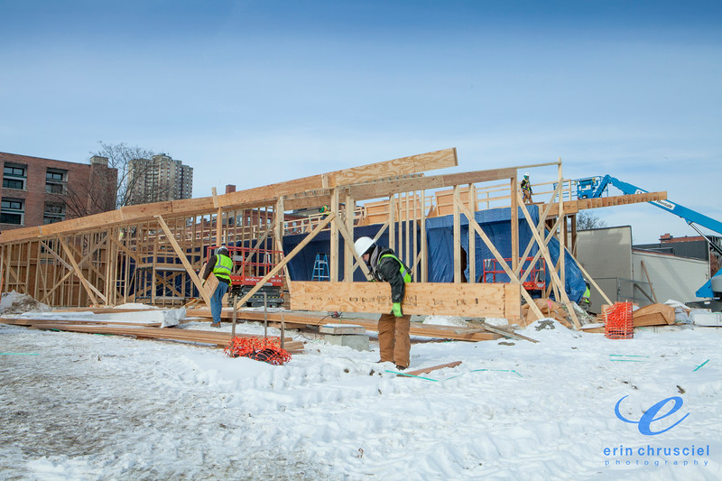 MGM Springfield: Framing in sub-zero New England weather for the MGM Springfield HeadStart school.