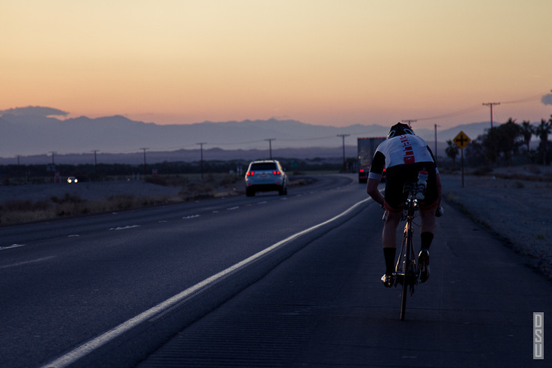 7:00 PM Sunset. The race started at 5:00 AM that morning, meaning that at this point, Adam had been riding for 14 hours straight.