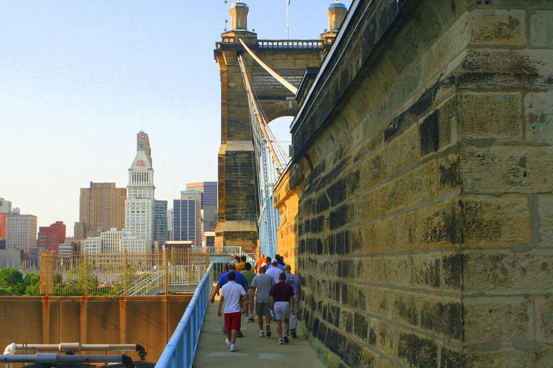 Walk across the bridge to US Bank Arena.  Bridge architect same as the Brooklyn Bridge, NY..