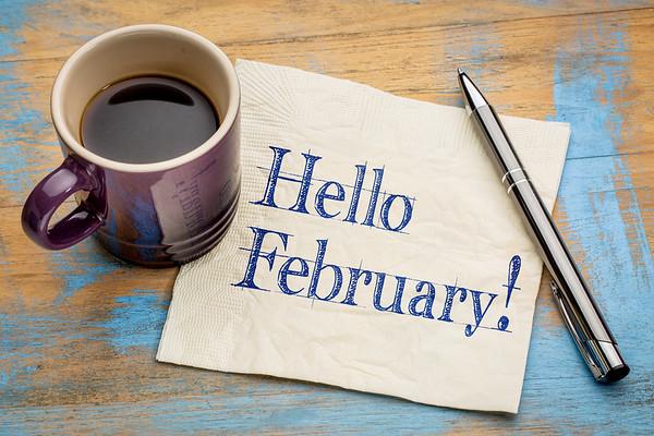 Hello February on napkin