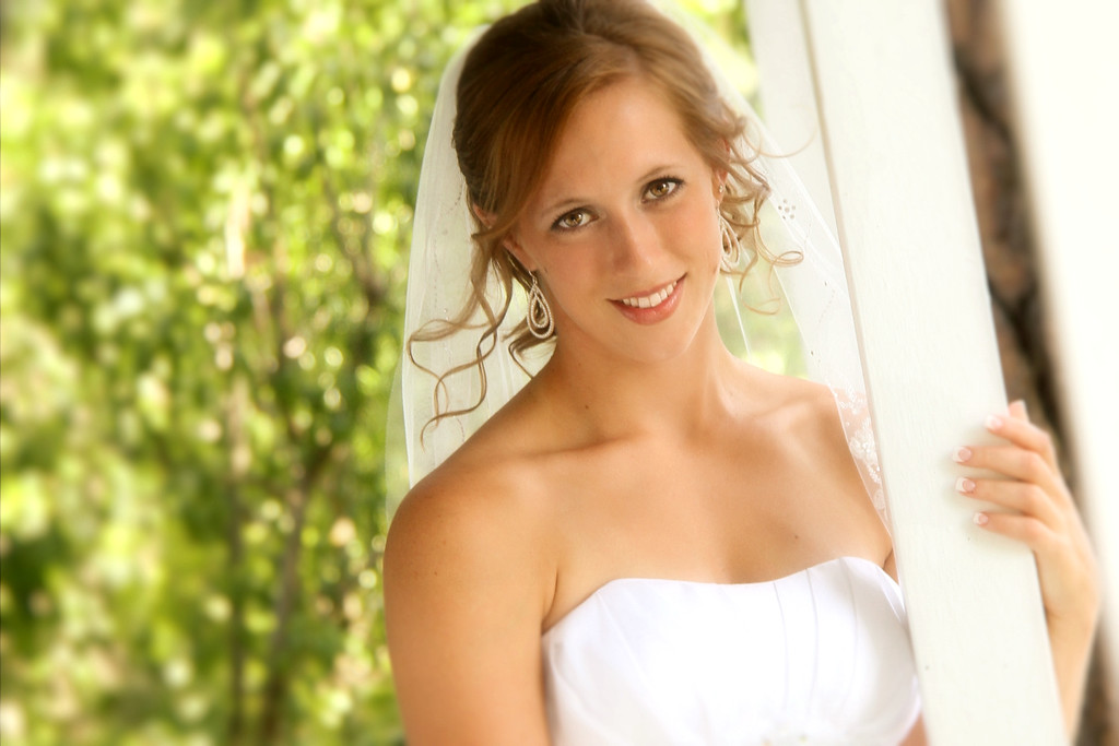 Bridal ,hand on porch rail