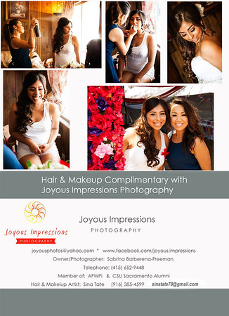 Hair & Makeup Complimentary with Joyous Impressions Photography Packages