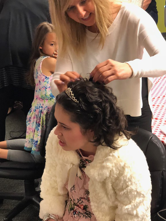 . Makeup and hairstyling was offered for guests at the Special Needs Prom at Lake Orion United Methodist Church on Friday, May 11, 2018. Pastor John Ball said the volunteers were key to the night\'s success. Stephen Frye / Digital First Media.