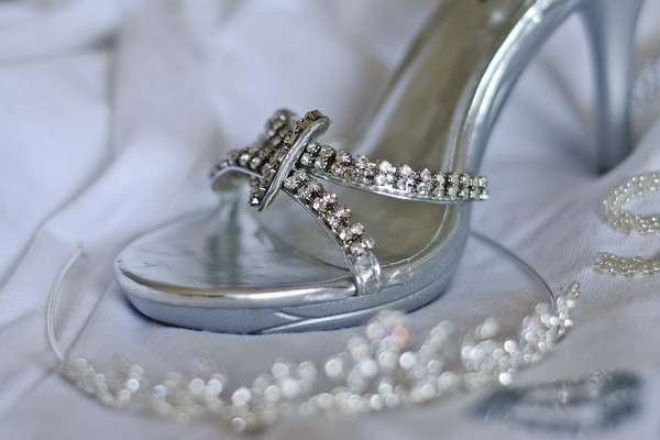 Bride's Silver Shoes and Tiara