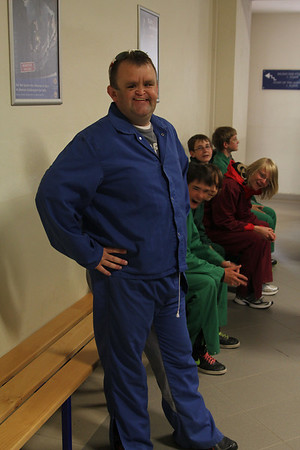 The nice outfits we had to wear in the mine. Stylish huh?