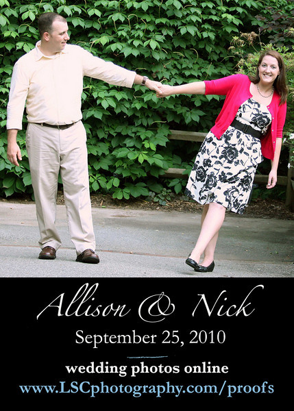 A preview slideshow set to music Allison and Nick picked will be up on October 2. The rest of the images will be up by 10.25. So, please, check back!
