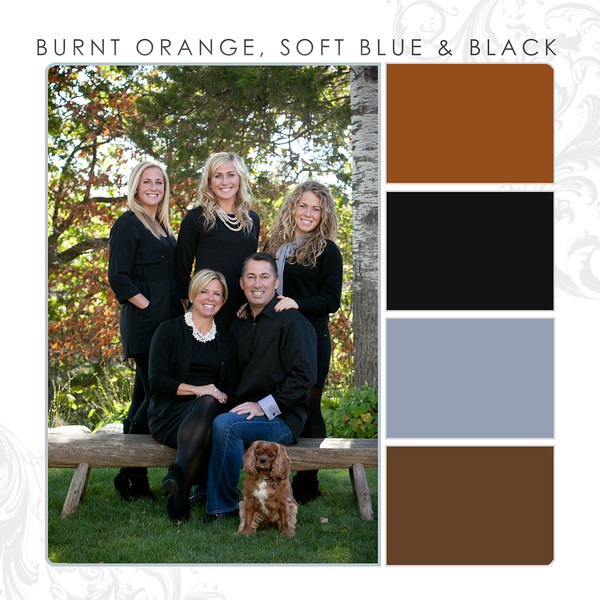 Burnt Orange-Soft Blue-Black