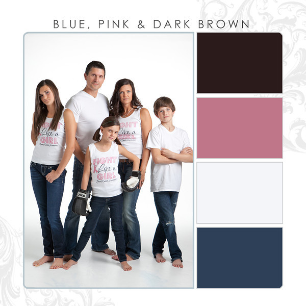 Blue-Pink-Dark Brown