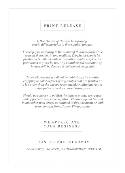 Print Release - Hunter Photography