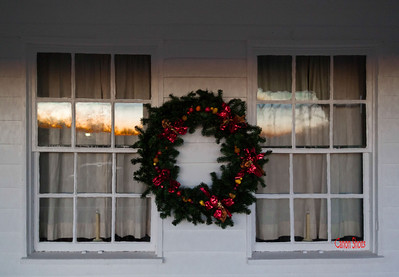 Wreath Between Windows