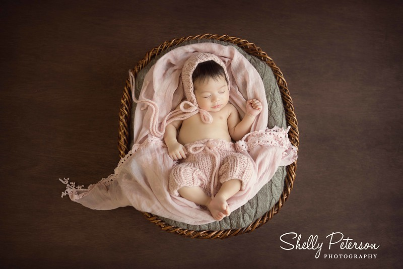 Large Round Wicker Basket - 6 week old baby