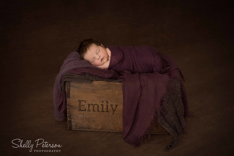 Tall Wooden Crate (with child's name added) - Plum Color Palette