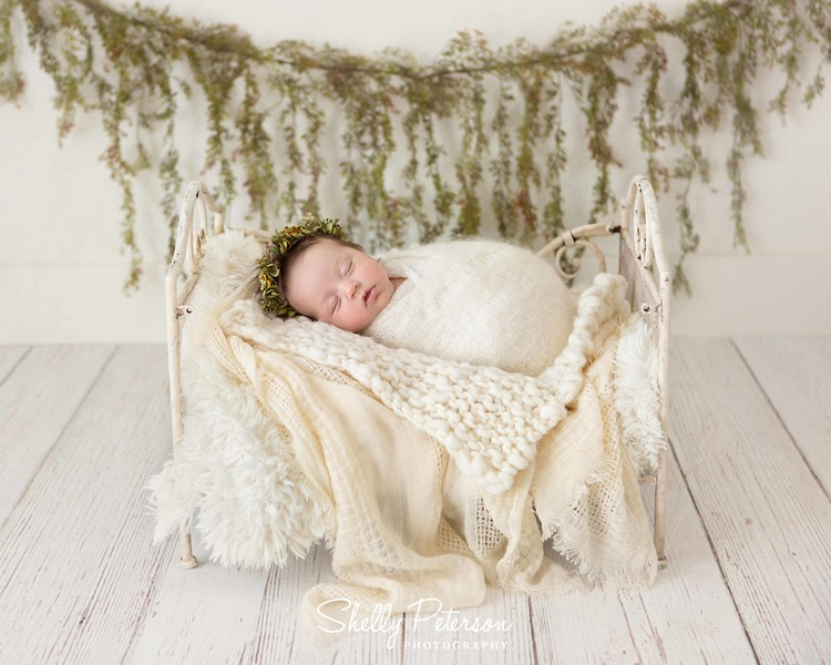 Large White Crib on Distressed White Floor with Studio Wall and Spanish Moss Garland - Cream Color Palette<br /> For Babies up to 12 weeks of age