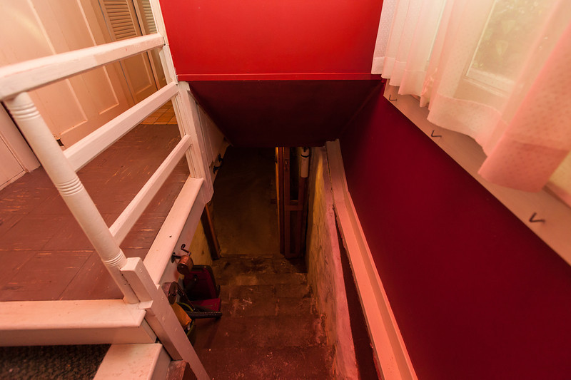 Stairs into cellar (kitchen on right)