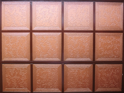 Detail of copper-painted stylish kitchen ceiling in second floor apartment.