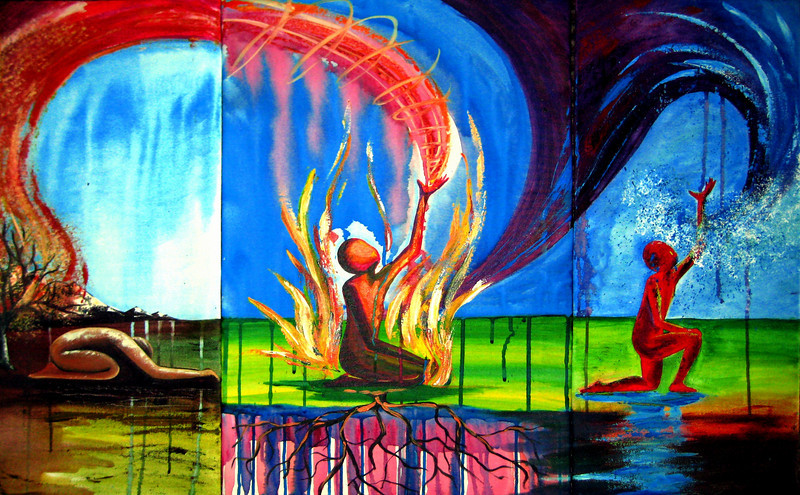 "Through the Desert (3 peice)<br /> 30""x 42""<br /> $690.00<br /> <br /> This painting is an illustration of relying on God, especially during those times when it seems as though all hell has broken loose in your life. When you are ""walking through fire"" and are so weary of the heat and are done trying to put out the flames, it is time to surrender and allow God to teach you how to rely on Him as the source of your life. Surrendering to the ""fires"" of life will produce purity of heart and blessed are the pure in heart for they shall see God. He is beyond trustworthy and competent enough to handle whatever challenges you face. He has the capacity and desire to give you beauty in return for your ashes because of His great love for you."