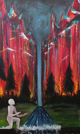 "Northern Light<br /> 22""x36""<br /> $430.00<br /> <br /> This painting is an illustration of the secret place of being hidden in God. The high canyon walls extend the whole way around, leaving only a narrow opening. It is a very deep, concealed place reserved for those who choose to pursue relationship with God into those veiled places of intimacy and friendship. The waterfall represents the one who has chosen to come this far. The precipice he kneels by is an invitation to go even deeper, not knowing where it will take him or if he will ever recover from the fall into the heart of God. Those who do are never the same."