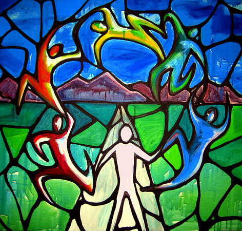 """One<br /> 30""""x 30""""<br /> $525.oo<br /> <br /> This painting is an illustration of the cry of God's heart to make His people one. There is a place in the Spirit that He longs to take us where His people have moved beyond unity to oneness. The white center figure is Jesus and the branches of colored people represent the different colors of the church, each with its own unique purpose in the body but all essential to functioning in fullness. The road we are on is the highway to holiness. God is refining and drawing us to this place of knowing Him and one another as we finish the race before us. The """"stained-glass"""" effect is symbolic of  who this word is given to; His church."""
