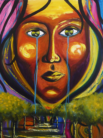"Vision<br /> 32""x38""<br /> $380.00<br /> <br /> This painting is for the true body of Christ. It represents the two faces that surface when we talk about the new things God is doing in His bride. For some, the transition is such a relief that it borderlines on fantasy. Yet for others, it depicts a time of grieving as we give up the old ways of doing things in order to completely step into the new things God is laying before us. Two streams of tears; joy and sorrow, excitement and healing, elation and wisdom, all for His glory. God desires His whole church to be brought forward into His vision; a blending of His people, the young and old; men, women and children, every color, every language, every sphere of society to move forward together as one in Him and in the power of Holy Spirit."
