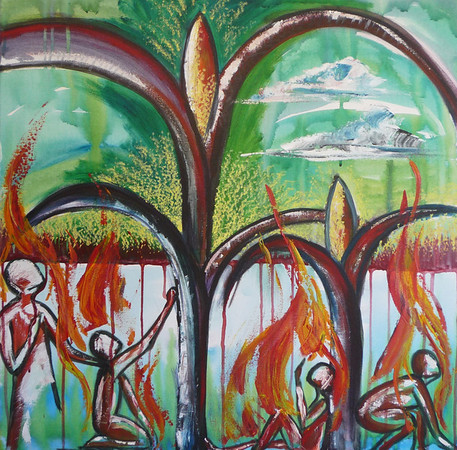 """Ripe for Harvest<br /> 28""""x28""""<br /> $215.00<br /> <br /> This painting illustrates the cry of Christ's heart for us to pray for workers for the fields because the """"harvest is plenty but the workers are few."""" The bursting stalks of wheat and the green sky both represent the overwhelming abundance of ripe souls, ready to give their lives to Jesus and come home. The figures at the bottom represent the people of God in all walks and seasons of life being filled and equipped to be sent out into the harvest fields. The fire on the figures represents the empowering of Holy Spirit to bring the gospel in power to the starving lost, looking for the bread of Life."""
