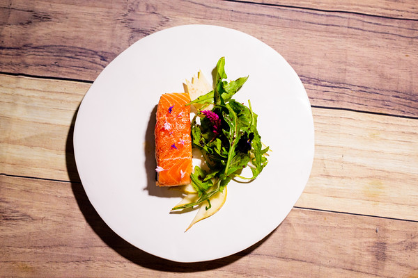 salmon | pear | arugula