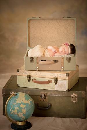 Suitcases + globe