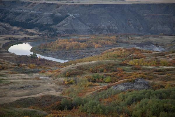 Red Deer River and badland river valley slopes
