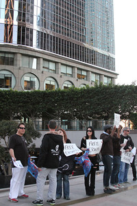 Sea Shepherd supporters and volunteers gather at the  Consulate General of Japan, located at 350 S Grand Ave  in Downtown Los Angeles on February 16, 2012 to show  their support for Sea Shepherd Cove Guardian, Erwin Vermeulen.