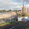 """The protest camp on the Port of Olympia's rail line. This protest was done to prevent the shipment of """"proppants"""" (ceramic fracking sands) to the Bakken oil fields of North Dakota."""