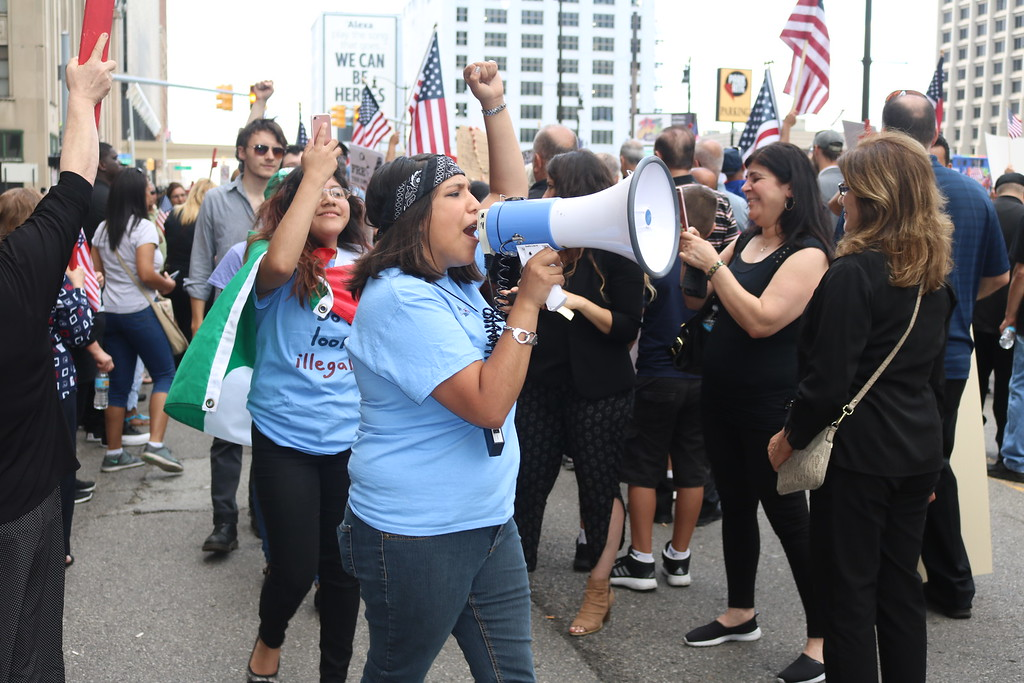. Some 500 rallied outside federal court in Detroit on Wednesday.