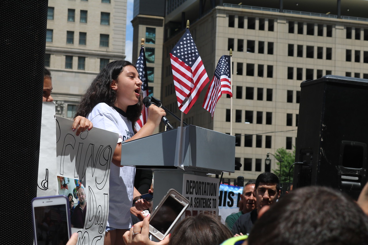 Lillyana Butris, 12, said her father is a detainee, and that he and the others deserve to stay in the United States. Photo by Aileen Wingblad / Digital First Media.