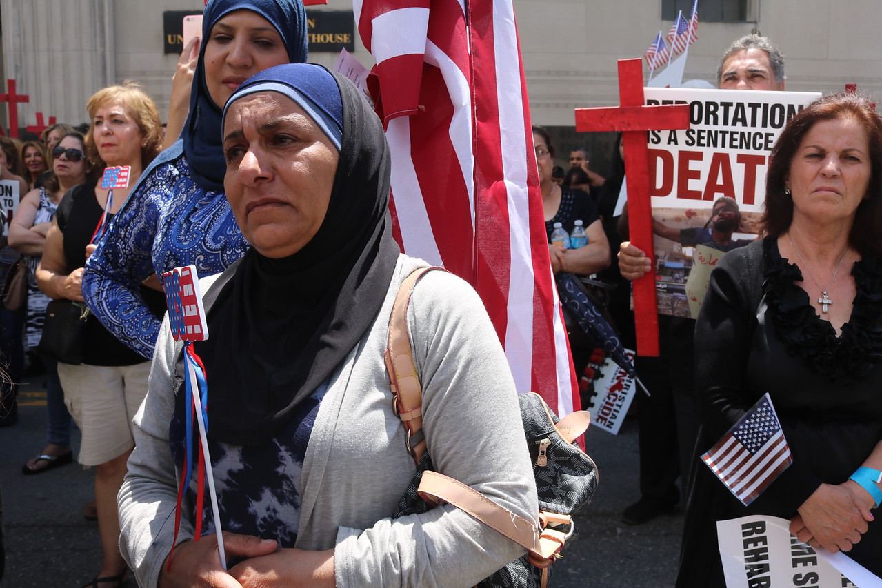 Protesters say they fear detainees will be killed if deported to Iraq.