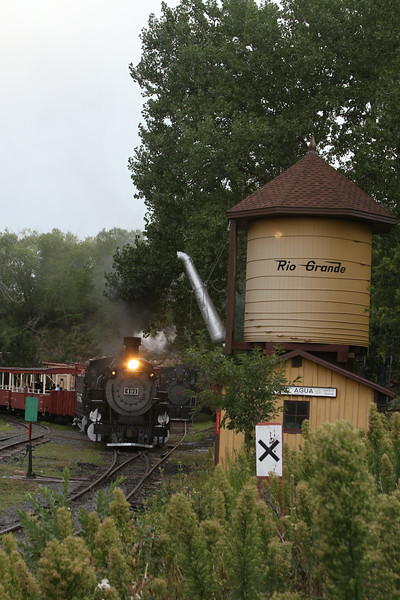 #491 nearing No Agua tank at the Colorado Railroad Museum.