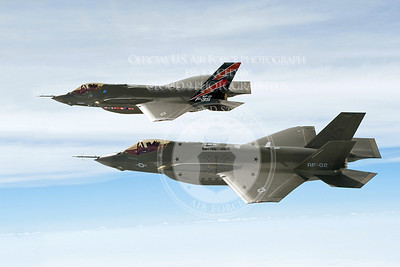 AF-1 (rear) and AF-2, F-35A Lightning II joint strike fighters, complete a test flight May 11, 2010, in preparation for the nonstop flight May 17 to Edwards Air Force Base, Calif., to begin extended flight test operations.  Air Force test pilot Lt. Col. Hank Griffiths and Lockheed Martin chief test pilot Jon Beesley flew the jets nonstop in the first multi-ship, long-range F-35 flight. (Courtesy photo/David Drais)