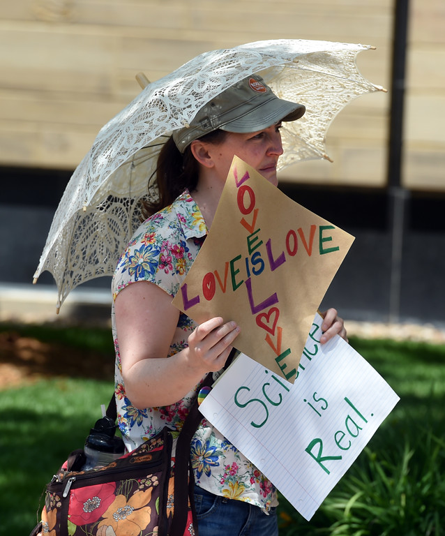 """. Annie Piatt was motivated to counter the Proud Boys protesters. The Proud Boys, a far right group, held a \""""free speech\"""" event on Saturday on the Pearl Street Mall. They were countered with anti-Trump protesters among others. For more photos and a video, go to www.dailycamera.com.  Cliff Grassmick  Staff Photographer June 3, 2017"""