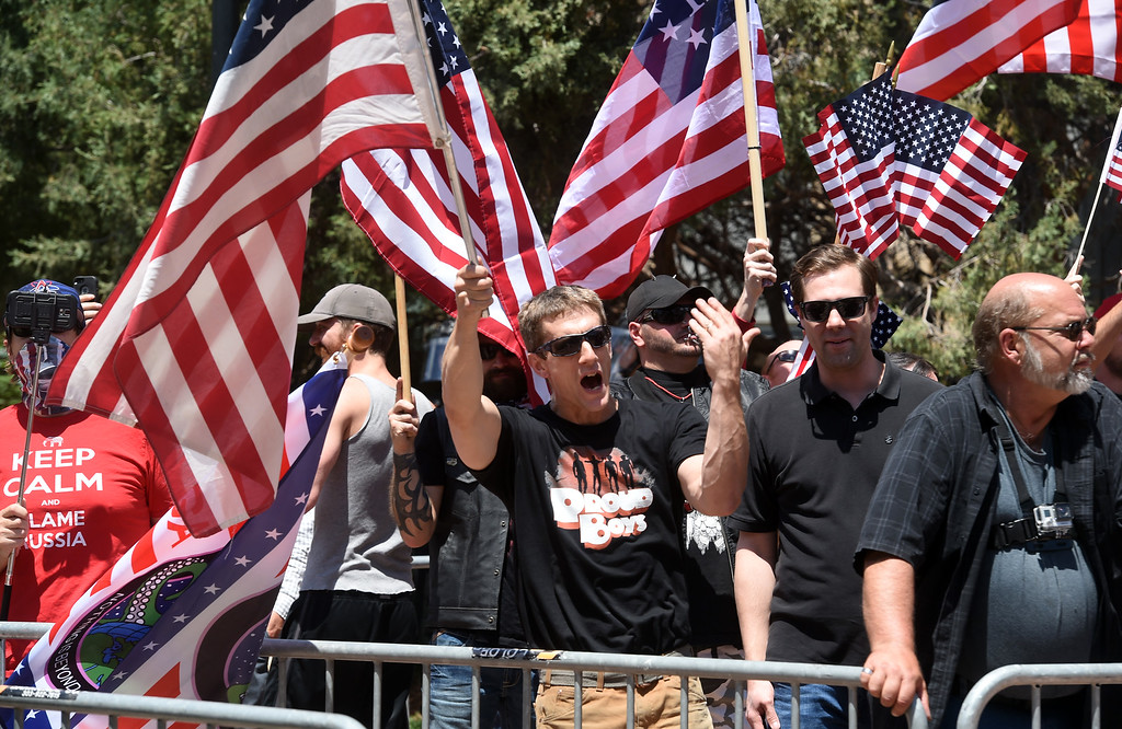 """. The Proud Boys, a far right group, held a \""""free speech\"""" event on Saturday on the Pearl Street Mall. They were countered with anti-Trump protesters among others. For more photos and a video, go to www.dailycamera.com.  Cliff Grassmick  Staff Photographer June 3, 2017"""