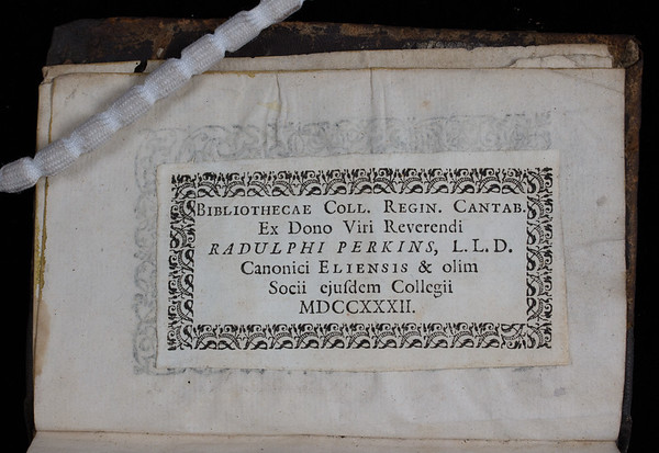 Donor book label of Ralph Perkins, 18th century