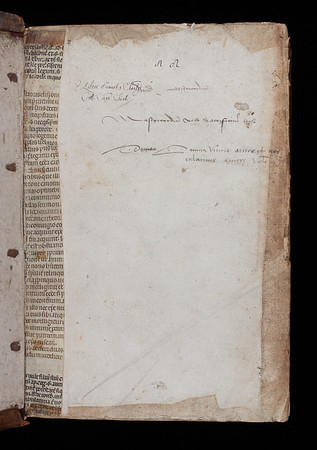 Manuscript waste and inscription, 16th century