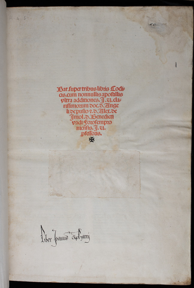 Ownership inscription of John Apharry, 16th century