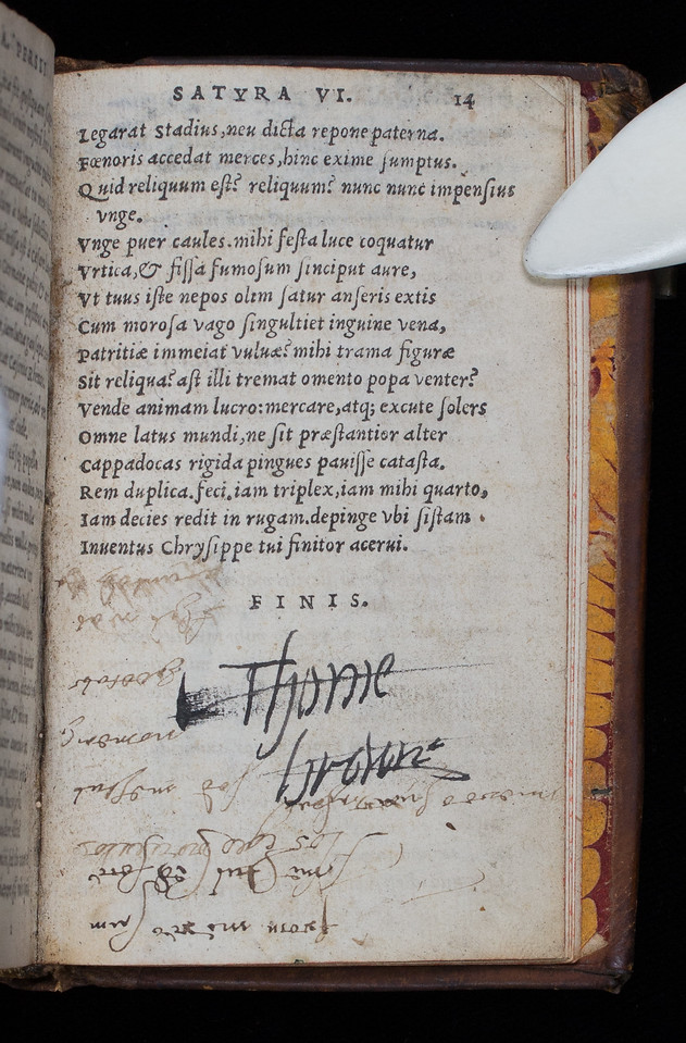 Inscription of Thomas Brown, 17th century