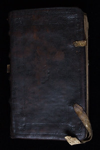 Contemporary calf binding with remains of leather ties.
