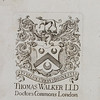 Bookpate of Thomas Walker, 18th Century