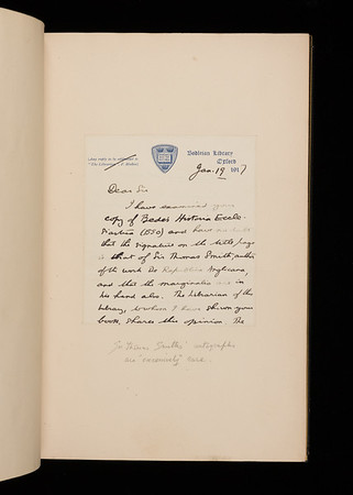Letter from Sir H. H. E. Craster (1/2)