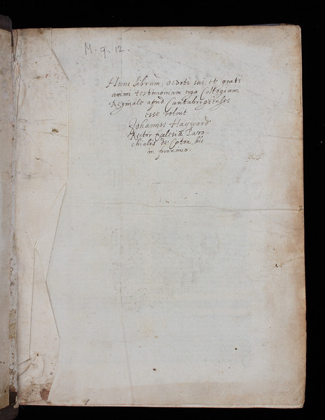 Donor inscription of John Haywards, 17th century